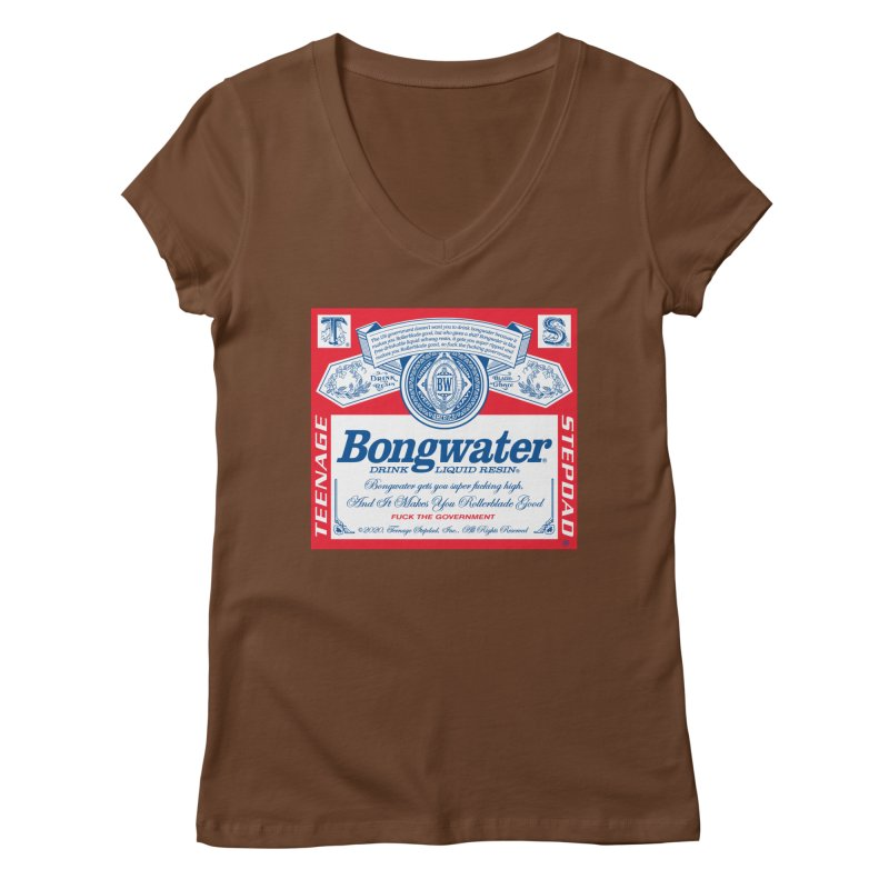 BONGWATER Classic Label Bootleg Women's Regular V-Neck by Teenage Stepdad