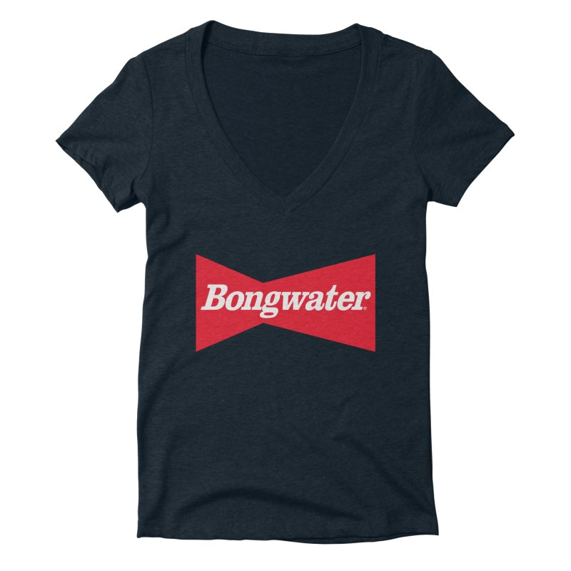 BONGWATER Classic Bowtie Logo Bootleg Women's Deep V-Neck V-Neck by Teenage Stepdad