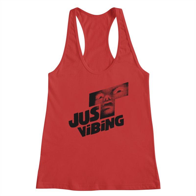 JUST VIBING Women's Racerback Tank by Teenage Stepdad
