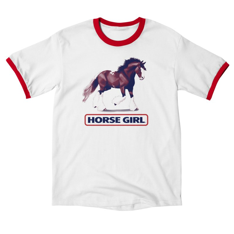 HORSE GIRL in Women's Ringer Unisex T-Shirt White / Red by Teenage Stepdad