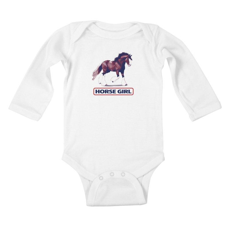 HORSE GIRL Kids Baby Longsleeve Bodysuit by Teenage Stepdad
