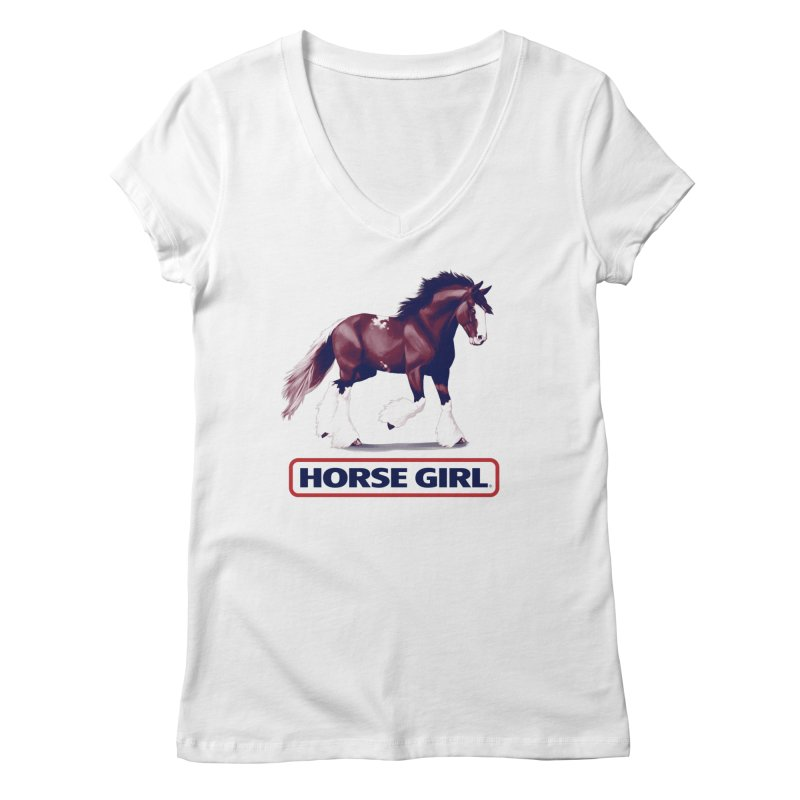 HORSE GIRL Women's Regular V-Neck by Teenage Stepdad