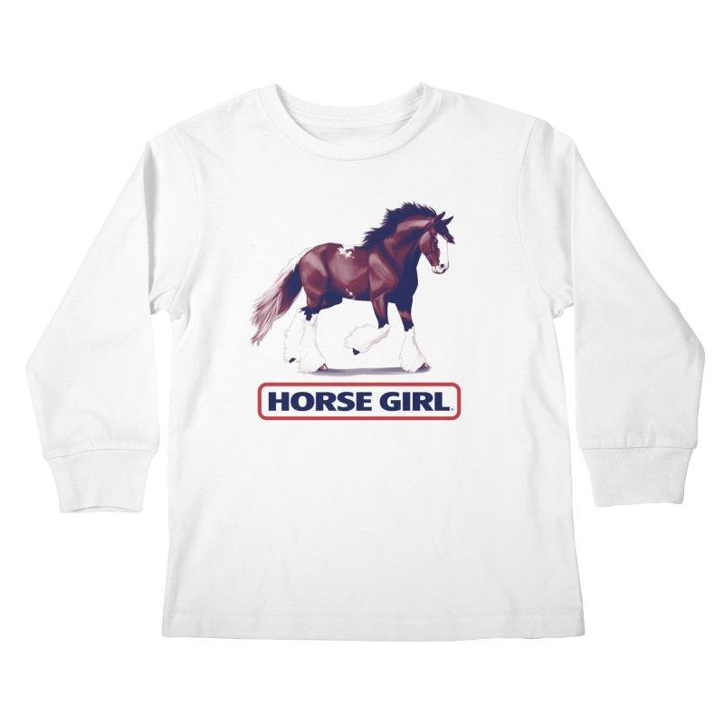 HORSE GIRL Kids Longsleeve T-Shirt by Teenage Stepdad