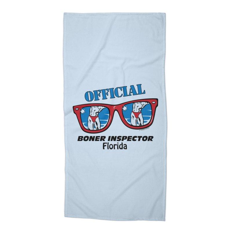 OFFICIAL BONER INSPECTOR Florida Accessories Beach Towel by Teenage Stepdad