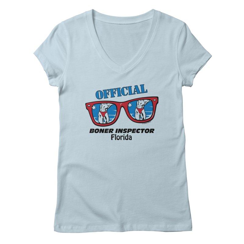 OFFICIAL BONER INSPECTOR Florida Women's V-Neck by Teenage Stepdad Shop   90s Inspired Apparel