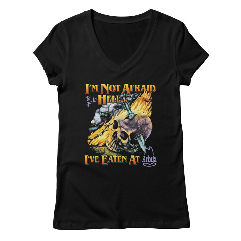 NOT AFRAID TO GO TO HELL Women's V-Neck by Teenage Stepdad Shop | 90s Inspired Apparel
