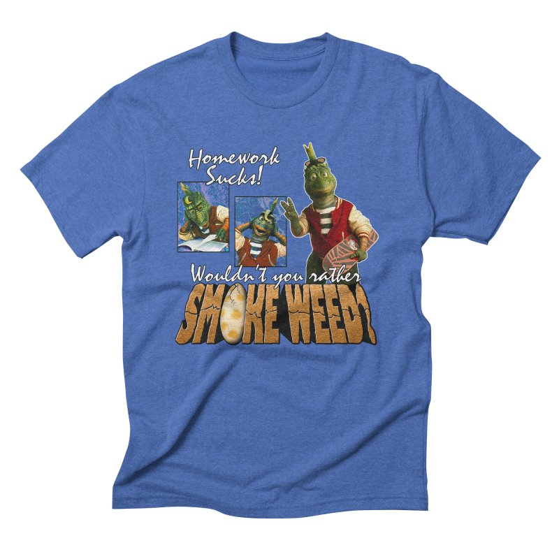 HOMEWORK SUCKS in Men's Triblend T-Shirt Blue Triblend by Teenage Stepdad