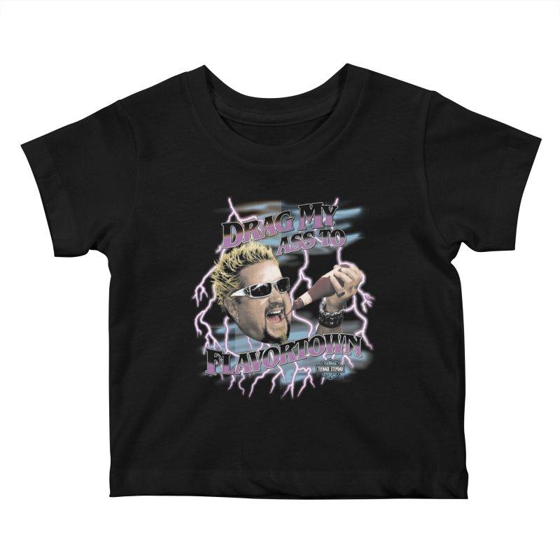 HIGHWAY TO FLAVORTOWN Kids Baby T-Shirt by Teenage Stepdad