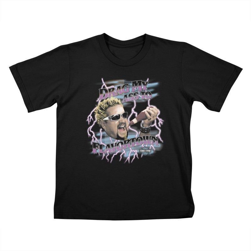 HIGHWAY TO FLAVORTOWN Kids T-Shirt by Teenage Stepdad