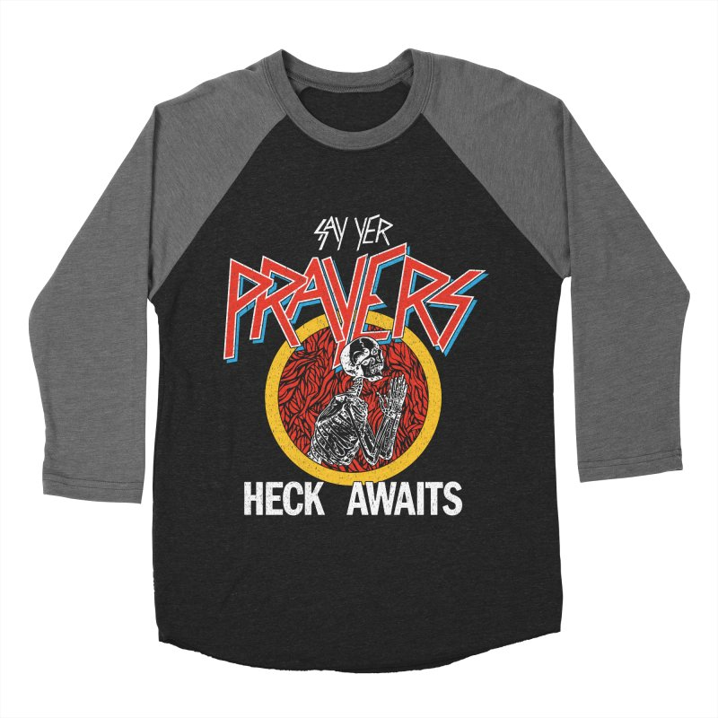 HECK AWAITS Men's Baseball Triblend Longsleeve T-Shirt by Teenage Stepdad