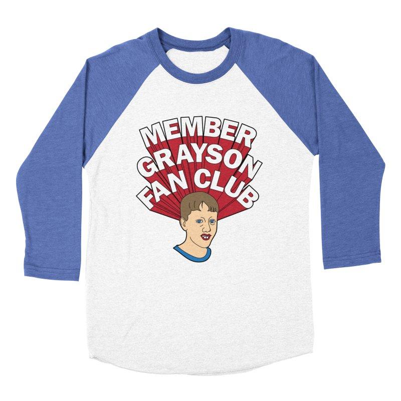 MEMBER GRAYSON FAN CLUB in Men's Baseball Triblend Longsleeve T-Shirt Tri-Blue Sleeves by Teenage Stepdad