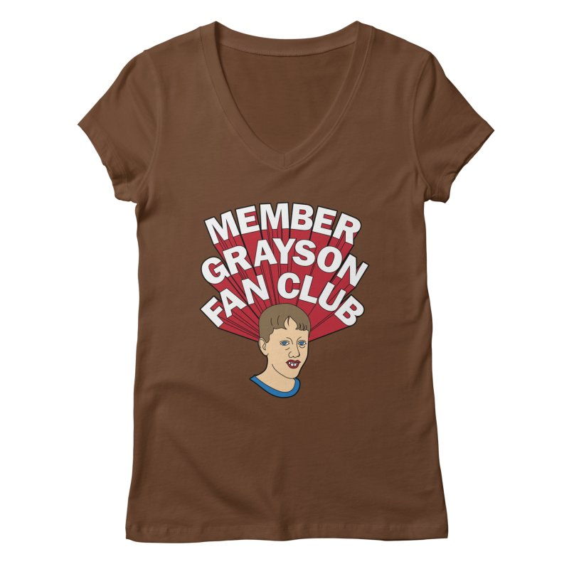 MEMBER GRAYSON FAN CLUB Women's Regular V-Neck by Teenage Stepdad
