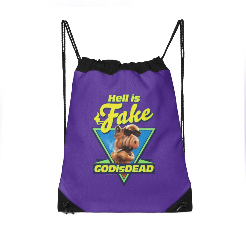 HELL IS FAKE  GOD IS DEAD Accessories Drawstring Bag Bag by Teenage Stepdad