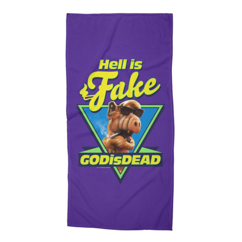 HELL IS FAKE  GOD IS DEAD Accessories Beach Towel by Teenage Stepdad