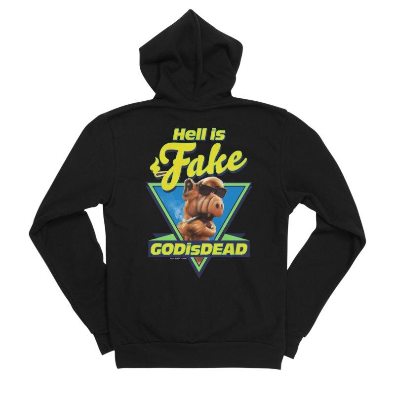 HELL IS FAKE  GOD IS DEAD Women's Sponge Fleece Zip-Up Hoody by Teenage Stepdad