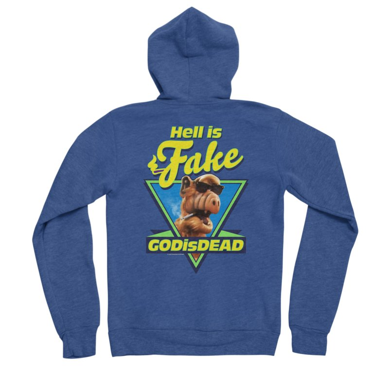 HELL IS FAKE  GOD IS DEAD Men's Sponge Fleece Zip-Up Hoody by Teenage Stepdad