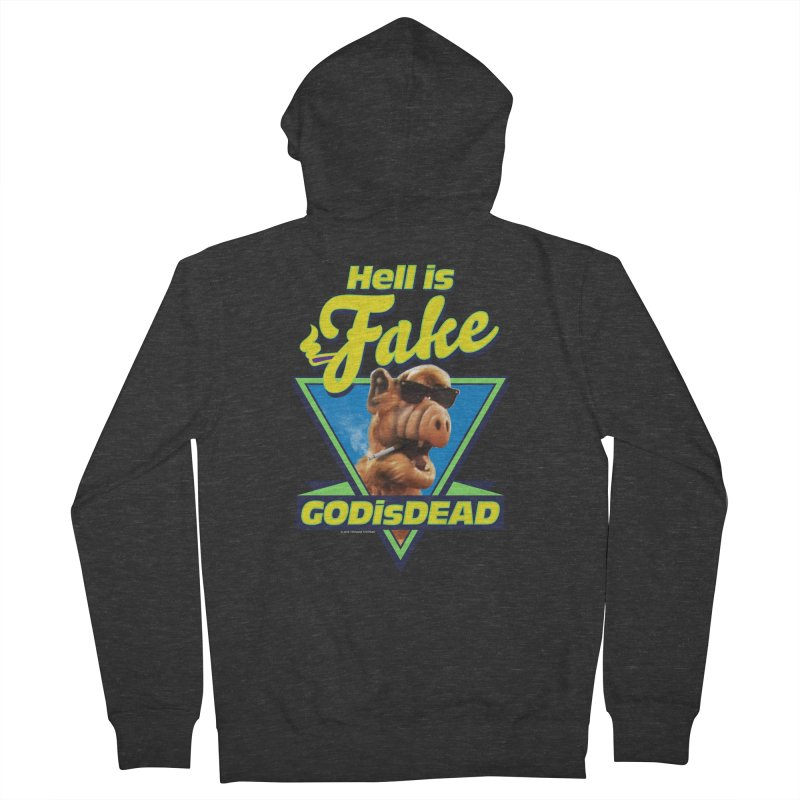 HELL IS FAKE  GOD IS DEAD Men's French Terry Zip-Up Hoody by Teenage Stepdad