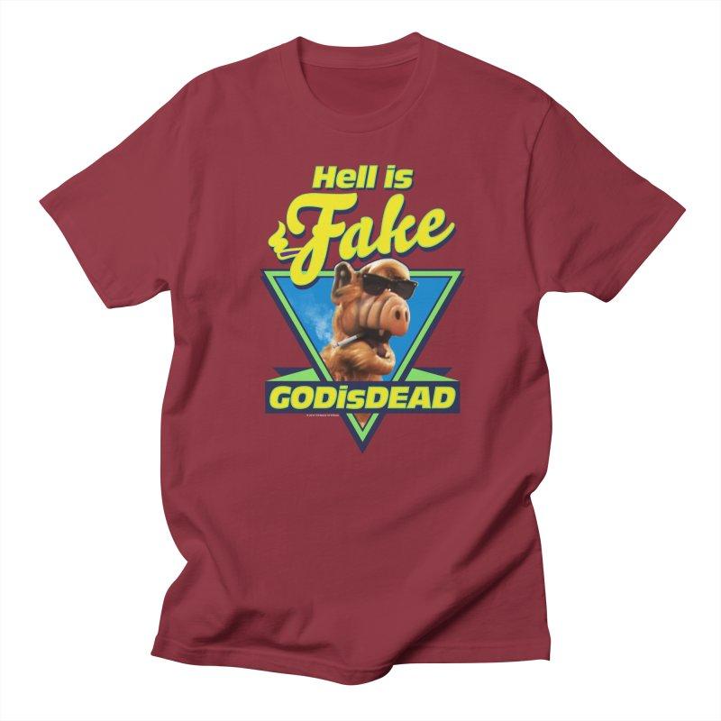 HELL IS FAKE  GOD IS DEAD Men's Regular T-Shirt by Teenage Stepdad