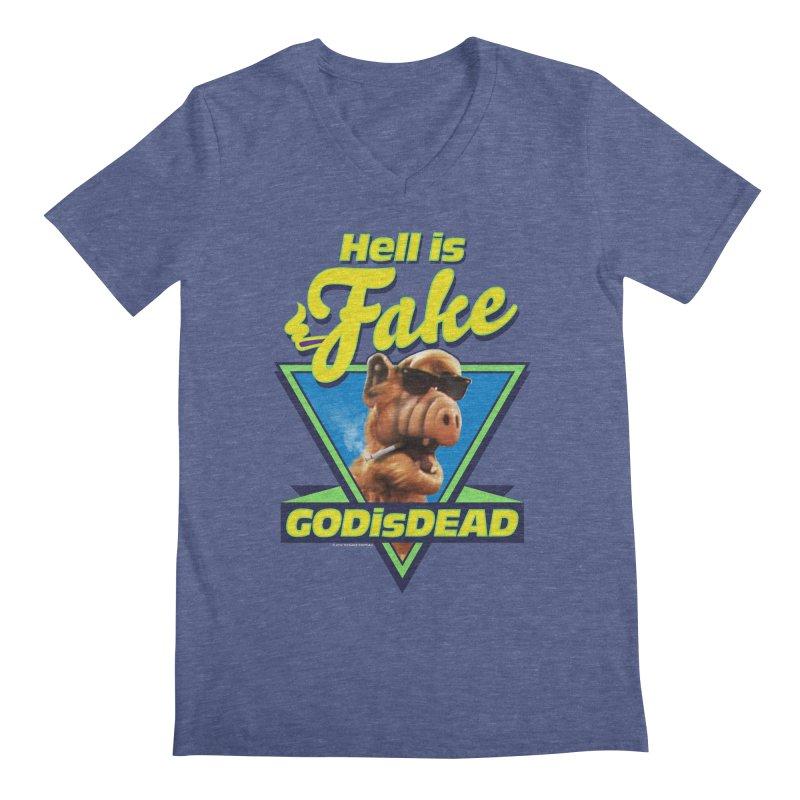 HELL IS FAKE  GOD IS DEAD Men's Regular V-Neck by Teenage Stepdad
