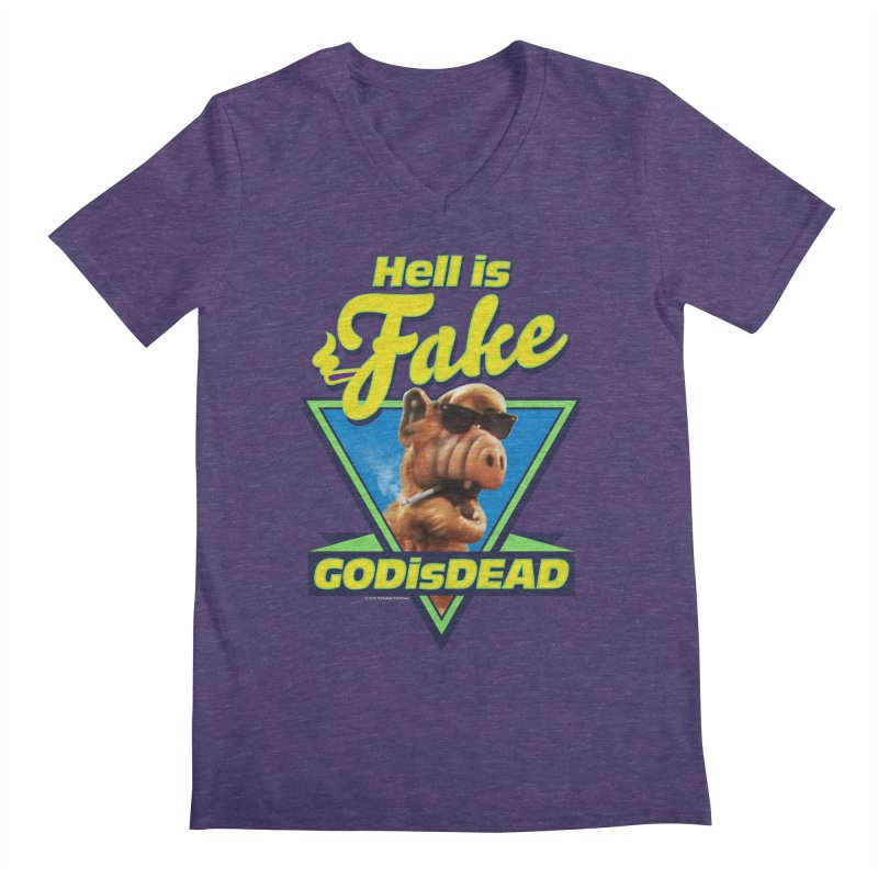 HELL IS FAKE  GOD IS DEAD Men's Regular V-Neck by Teenage Stepdad