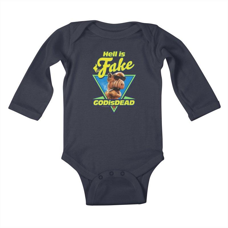 HELL IS FAKE  GOD IS DEAD Kids Baby Longsleeve Bodysuit by Teenage Stepdad