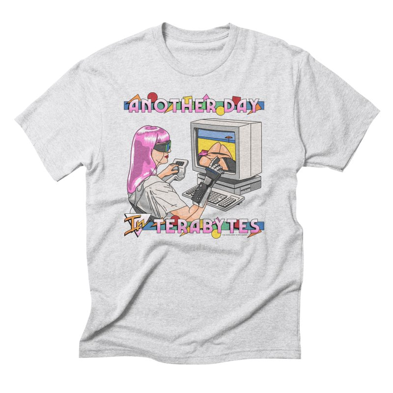 ANOTHER DAY IN TERABYTES in Men's Triblend T-Shirt Heather White by Teenage Stepdad