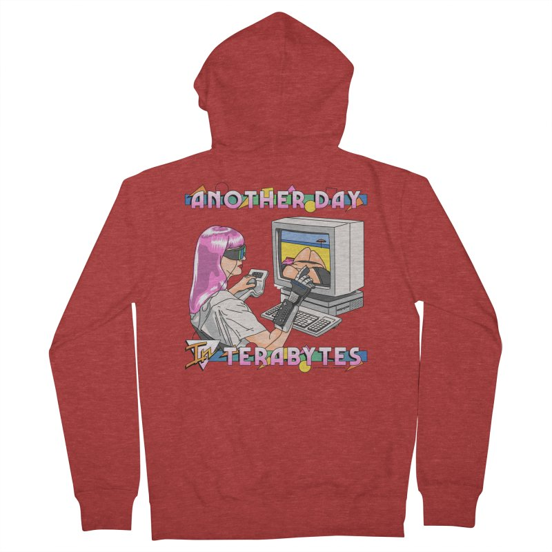 ANOTHER DAY IN TERABYTES Men's French Terry Zip-Up Hoody by Teenage Stepdad