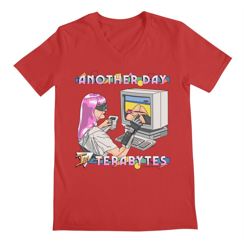 ANOTHER DAY IN TERABYTES Men's Regular V-Neck by Teenage Stepdad