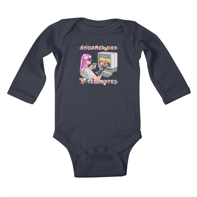 ANOTHER DAY IN TERABYTES Kids Baby Longsleeve Bodysuit by Teenage Stepdad