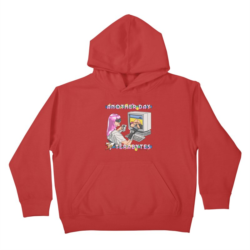 ANOTHER DAY IN TERABYTES Kids Pullover Hoody by Teenage Stepdad
