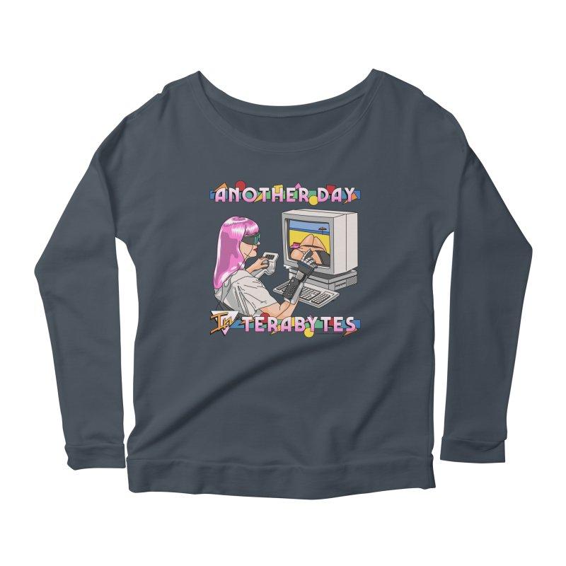 ANOTHER DAY IN TERABYTES Women's Scoop Neck Longsleeve T-Shirt by Teenage Stepdad