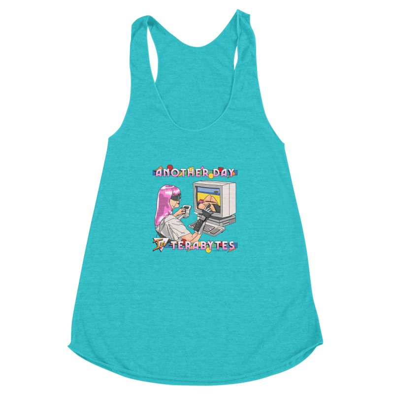 ANOTHER DAY IN TERABYTES Women's Racerback Triblend Tank by Teenage Stepdad