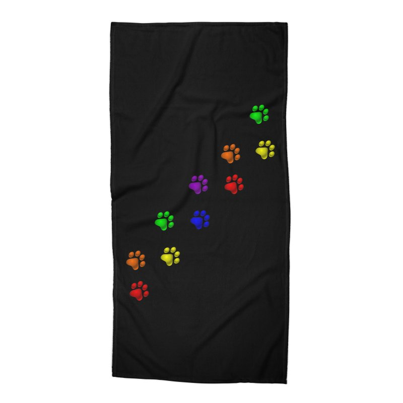 Rainbow Paw Prints in Beach Towel by Tee Panic T-Shirt Shop by Muzehack