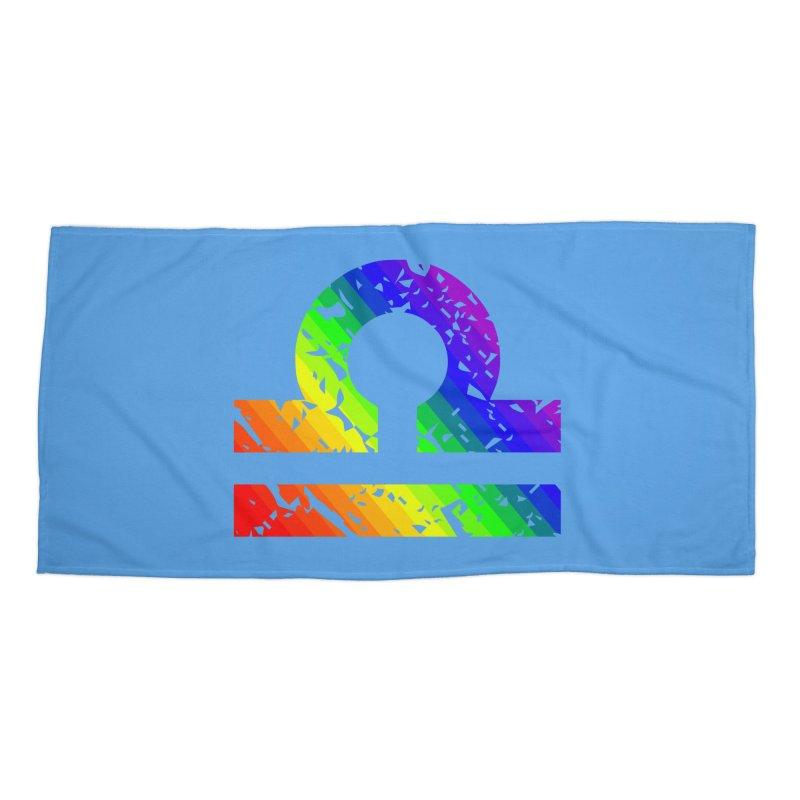Libra Rainbow Zodiac in Beach Towel by Tee Panic T-Shirt Shop by Muzehack