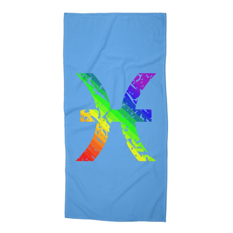 Pisces Rainbow Zodiac in Beach Towel by Tee Panic T-Shirt Shop by Muzehack