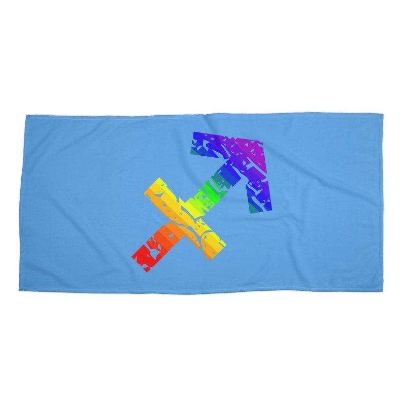 Sagittarius Rainbow Zodiac in Beach Towel by Tee Panic T-Shirt Shop by Muzehack