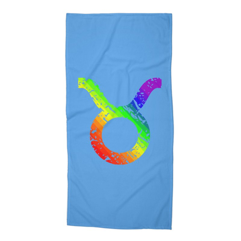 Taurus Rainbow Zodiac in Beach Towel by Tee Panic T-Shirt Shop by Muzehack