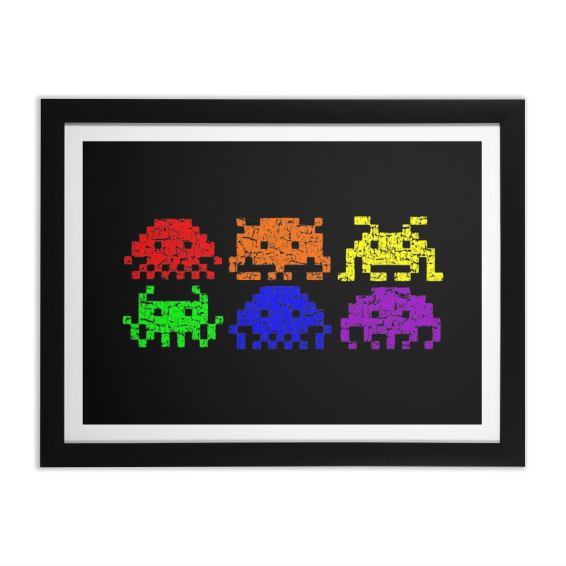 Pride Invaders T-shirt Home Framed Fine Art Print by Tee Panic T-Shirt Shop by Muzehack