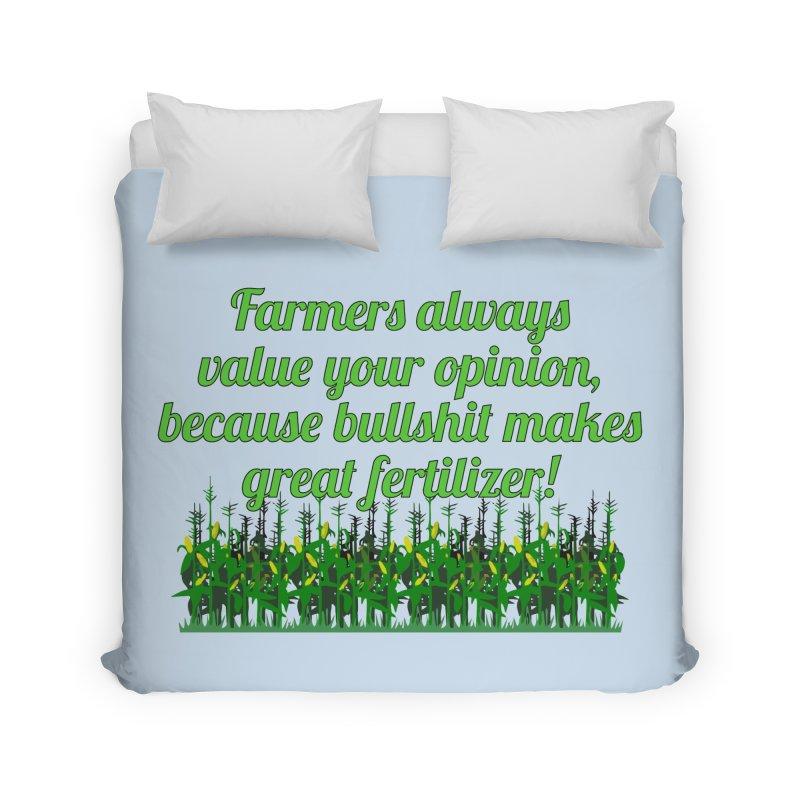 Farmer Bullshit Opinion T-shirt Home Duvet by Tee Panic T-Shirt Shop by Muzehack