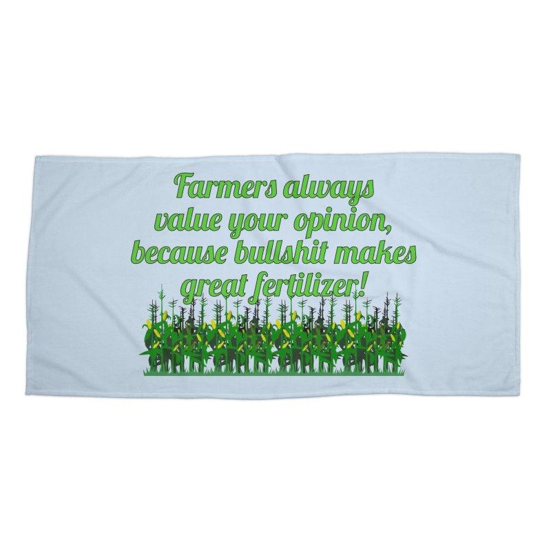 Farmer Bullshit Opinion T-shirt Accessories Beach Towel by Tee Panic T-Shirt Shop by Muzehack