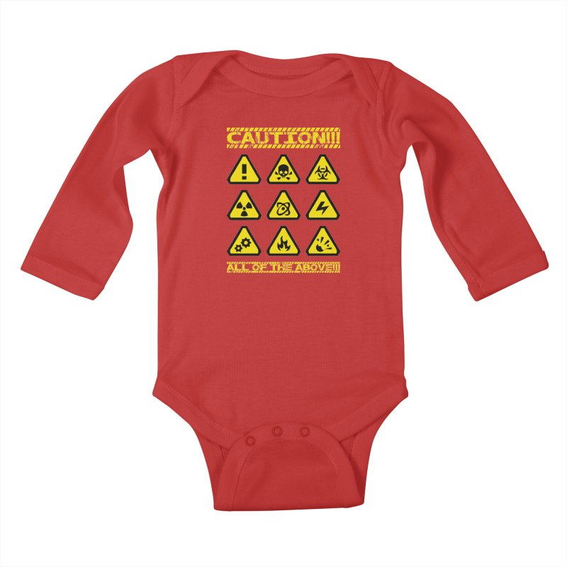 Caution Signs T-shirt Kids Baby Longsleeve Bodysuit by Tee Panic T-Shirt Shop by Muzehack