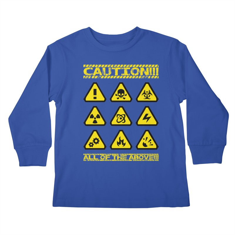 Caution Signs T-shirt Kids Longsleeve T-Shirt by Tee Panic T-Shirt Shop by Muzehack