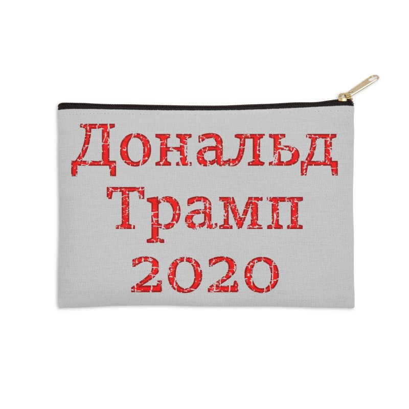 Donald Trump 2020 in Russian T-shirt Accessories Zip Pouch by Tee Panic T-Shirt Shop by Muzehack