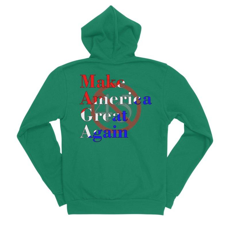 MAGA Impeach 45 T-shirt Women's Sponge Fleece Zip-Up Hoody by Tee Panic T-Shirt Shop by Muzehack