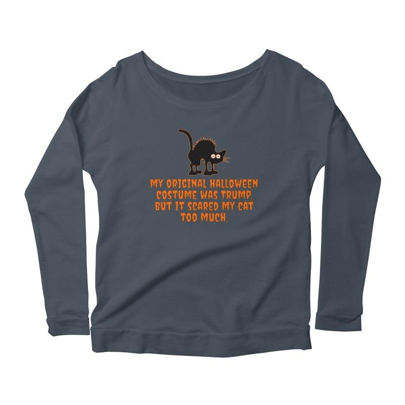 Trump Halloween Costume T-shirt Women's Scoop Neck Longsleeve T-Shirt by Tee Panic T-Shirt Shop by Muzehack