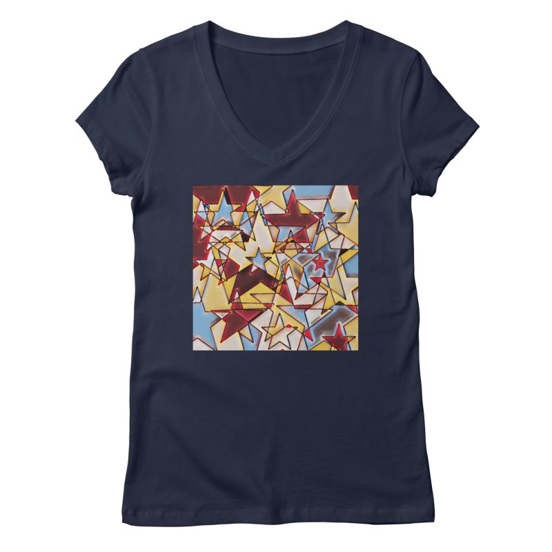 Stars Women's Regular V-Neck by Tee Panic T-Shirt Shop by Muzehack