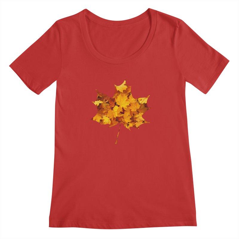 Autumn Colors Women's Regular Scoop Neck by Tee Panic T-Shirt Shop by Muzehack