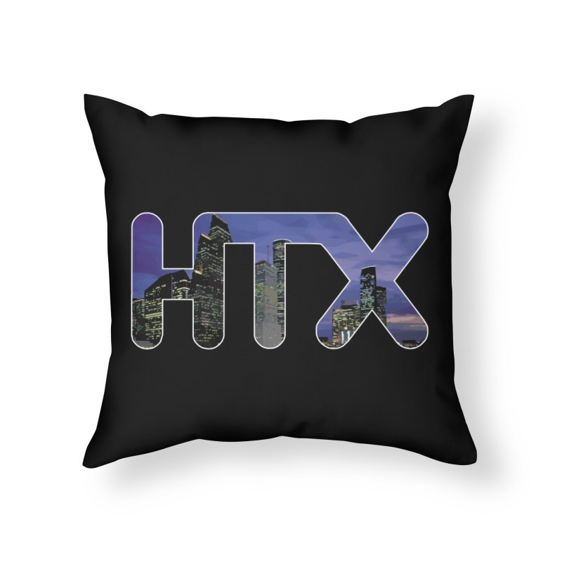 Houston HTX Home Throw Pillow by Tee Panic T-Shirt Shop by Muzehack