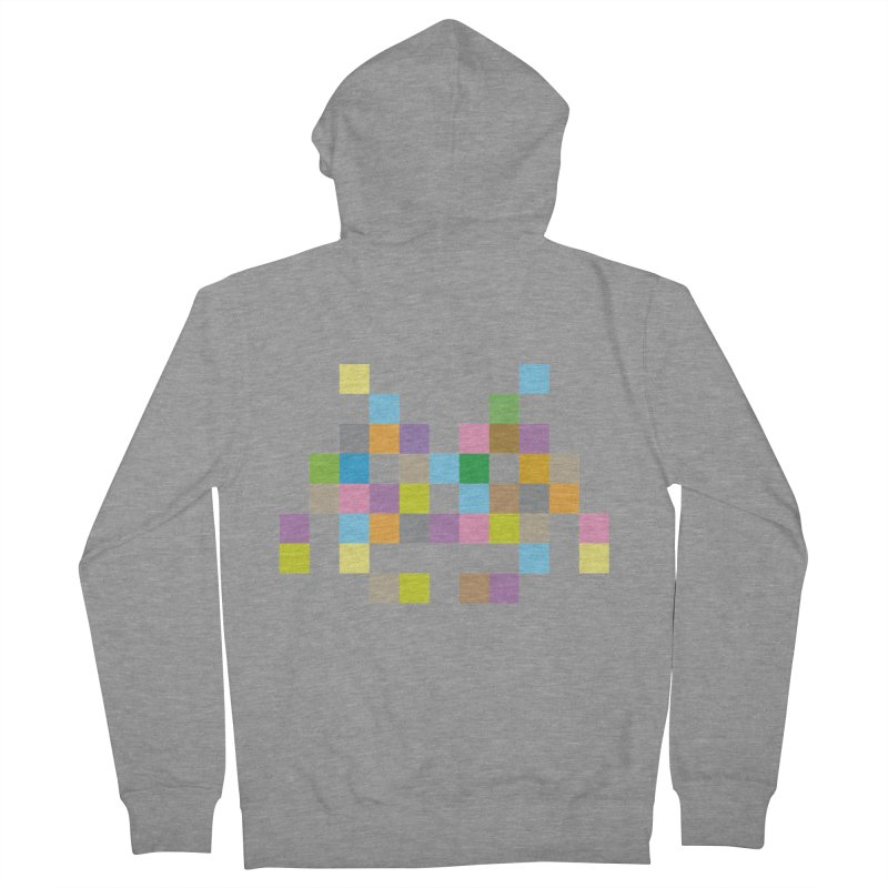 Pixel Face Women's French Terry Zip-Up Hoody by Teezinvaders