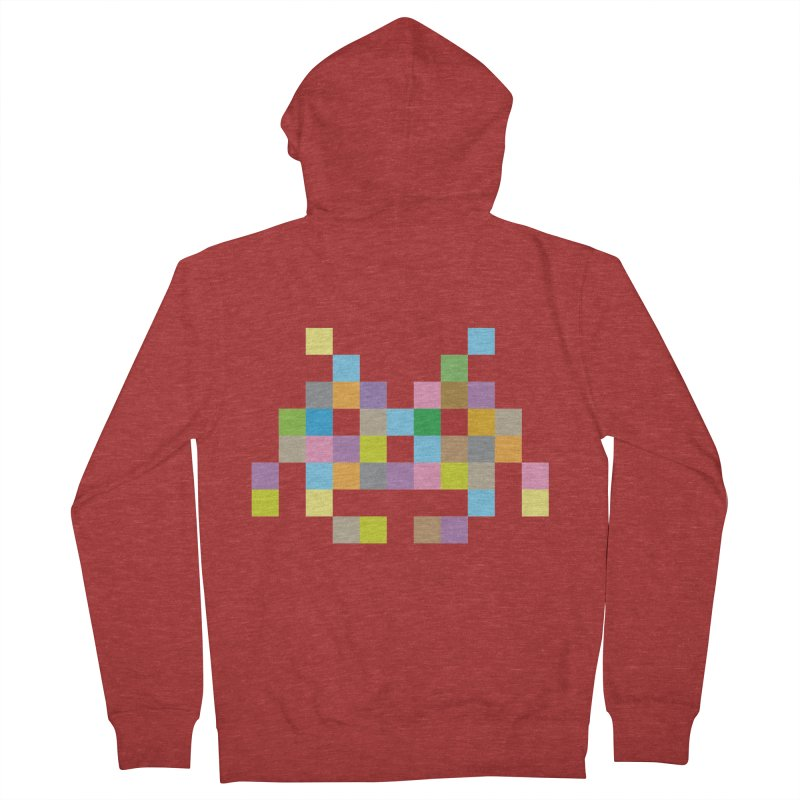 Pixel Face Men's French Terry Zip-Up Hoody by Teezinvaders